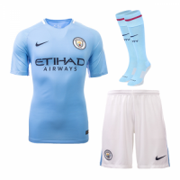 Manchester City 17-18 Home Jersey Whole Kit(Shirt+Short+Socks)
