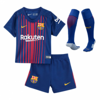 17-18 Barcelona Home Children's Jersey Whole Kit(Shirt+Short+Socks)