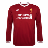 17-18 Liverpool Home Red Long Sleeve Soccer Jersey Whole Kit(Shirt+Short+Socks)