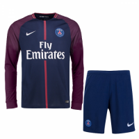 17-18 PSG Home Long Sleeve Jersey Kit(Shirt+Short)