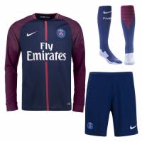 17-18 PSG Home Long Sleeve Jersey Whole Kit(Shirt+Short+Socks)