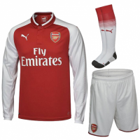 17-18 Arsenal Home Long Sleeve Jersey Whole Kit(Shirt+Short+Socks)