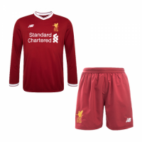 17-18 Liverpool Home Red Long Sleeve Soccer Jersey Kit(Shirt+Short)
