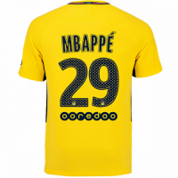 sports shoes 79a2b 11094 17-18 PSG Away MBAPPÉ #29 Yellow Soccer Jersey Shirt