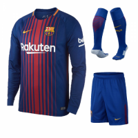 17-18 Barcelona Home Long Sleeve Soccer Jersey Whole Kit(Shirt+Short+Socks)