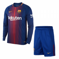 17-18 Barcelona Home Long Sleeve Soccer Jersey Kit(Shirt+Short)