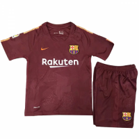 17-18 Barcelona Third Away Red Children's Jersey Kit(Shirt+Shorts)