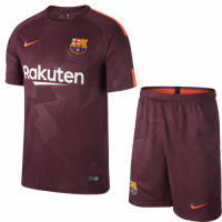 17-18 Barcelona Third Away Red Soccer Jersey Kit(Shirt+Shorts)