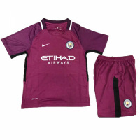 17-18 Manchester City Away Purple Children's Jersey Kit(Shirt+Short)