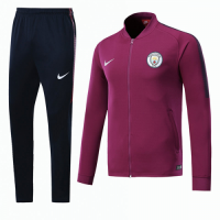 17-18 Manchester City Purple Low Collar Training Kit(Jacket+Trousers)