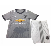 17-18 Manchester United Away Gray Children's Jersey Kit(Shirt+Shorts)