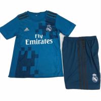 17-18 Real Madrid Third Away Blue Children's Jersey Kit(Shirt+Shorts)
