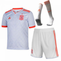 2018 World Cup Spain Away White Soccer Jersey Whole Kit(Shirt+Short+Socks)