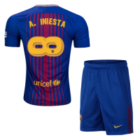 17-18 Barcelona  home  #Infinit8Iniesta Soccer Whole Kit(Shirt+Shorts)