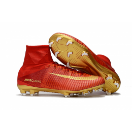 NK Mercurial Superfly CR7 Vitórias FG boots-Red&Golden