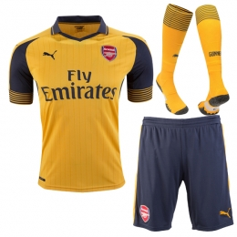 ec23ae0597a 16-17 arsenal away yellow soccer jersey whole kit(shirt+short+socks