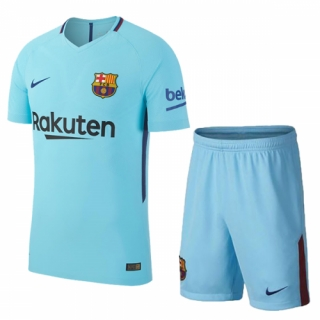 Barcelona 17-18 Away Sky Blue Jersey Kit(Shirt+Short)
