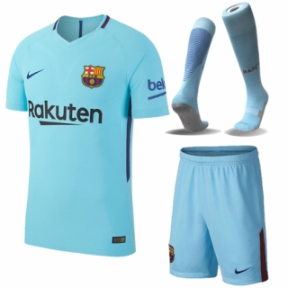 Barcelona 17-18 Away Blue Jersey Whole Kit(Shirt+Short+Sock)