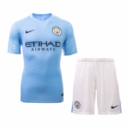 Manchester City 17-18 Home Jersey Kit(Shirt+Short)