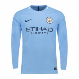 17-18 Manchester City Home Long Sleeve Jersey Shirt