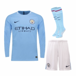 17-18 Manchester City Home Long Sleeve Jersey Whole Kit(Shirt+Short+Socks)