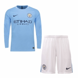 17-18 Manchester City Home Long Sleeve Jersey Kit(Shirt+Short)
