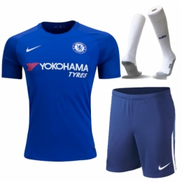 17-18 Chelsea Home Soccer Jersey Whole Kit(Shirt+Short+Socks)
