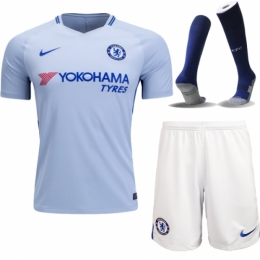 17-18 Chelsea Away Sky Blue Soccer Jersey Whole Kit(Shirt+Short+Socks)