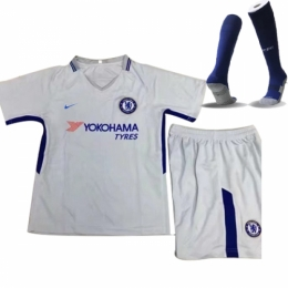 17-18 Chelsea Away White Children's Whole Kit(Shirt+Short+Sock)