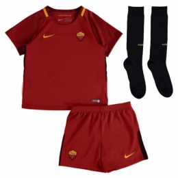 17-18 Roma Home Red Children's Jersey Whole Kit(Shirt+Short+Socks)