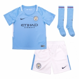 17-18 Manchester City Home Children's Jersey Whole Kit(Shirt+Short+Socks)