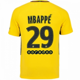 sports shoes a891a c6235 17-18 PSG Away MBAPPÉ #29 Yellow Soccer Jersey Shirt