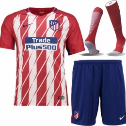 newest collection 4a3ba 4d35c 17-18 Atletico Madrid Home Soccer Jersey Whole Kit(Shirt+Short+Socks)