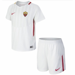17-18 Roma Away White Soccer Jersey Kit(Shirt+Shorts)