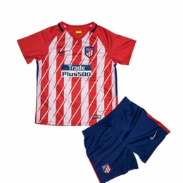 17-18 Atletico Madrid Home Children's Jersey Kit(Shirt+Shorts)