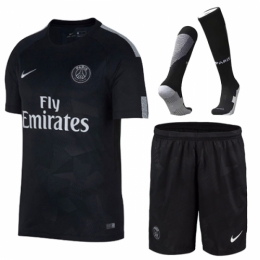 separation shoes 0cb7d 04ded 17-18 PSG Third Away Black Soccer Jersey Whole Kit(Shirt+Shorts+Socks)