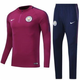 competitive price 1a095 e3ba4 17-18 Manchester City Purple Training Kit(Zipper Shirt+Trousers)
