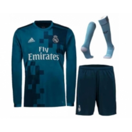 size 40 f82a7 1bfea 17-18 Real Madrid Third Away Blue Long Sleeve Jersey Whole  Kit(Shirt+Shorts+Socks)