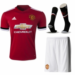 watch 33671 7e987 Manchester United 17-18 Home Jersey Whole Kit(Shirt+Short+Socks)