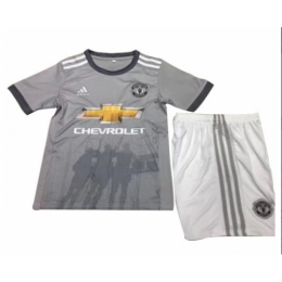separation shoes c9f8f 0a486 17-18 Manchester United Away Gray Children's Jersey Kit(Shirt+Shorts)