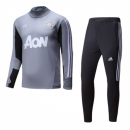 dc0d860d24a 17-18 Manchester United Gray Training Kit(Zipper Shirt+Trousers ...