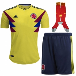 2018 Colombia Home Soccer Jersey Full Kit (Shirt+Shorts+Socks)