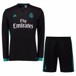 half off cae9c 980f7 17-18 Real Madrid Away Black Long Sleeve Jersey Kit(Shirt+Short)