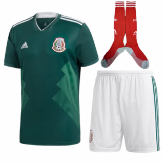 2018 World Cup Mexico Home Soccer Jersey Whole Kit(Shirt+Short+Socks)
