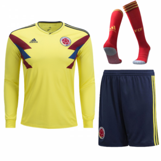 2018 World Cup Colombia Home Long Sleeve Whole Jersey Kit(Shirt+Short+Socks)
