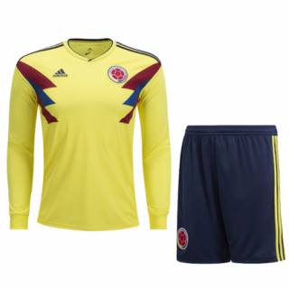 2018 World Cup Colombia Home Long Sleeve Jersey Kit(Shirt+Short)