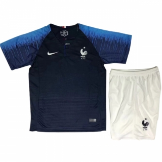 2018 World Cup France Home Children's Jersey Kit(Shirt+Short)