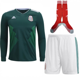 2018 World Cup Mexico Home Long Sleeve Jersey Whole Kit(Shirt+Short+Socks)