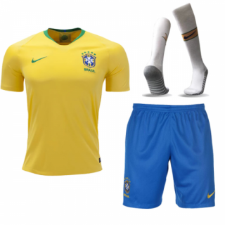 67f38aecd 2018 World Cup Brazil Home Yellow Jersey Whole Kit(Shirt+Short+Socks ...