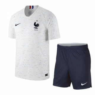 2018 World Cup France Away White&Navy Soccer Jersey Kit(Shirt+Short)